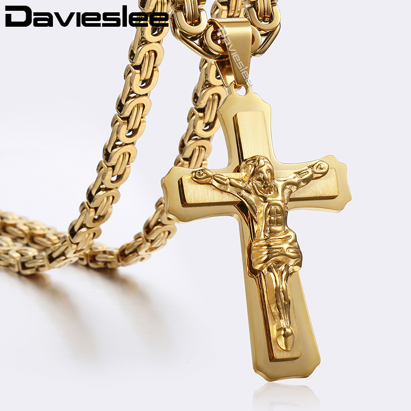 Layers Jesus Christ Cross Pendant Necklace For Men Silver Gold Stainless Steel Byzantine Mens Pendant Cross Necklaces LKP483 цена