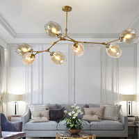 Современная Nordic ветвления Бурлящий шарик подвесные светильники Стекло золотой блеск металла Hanglamp жизни столовая Кухня светильники