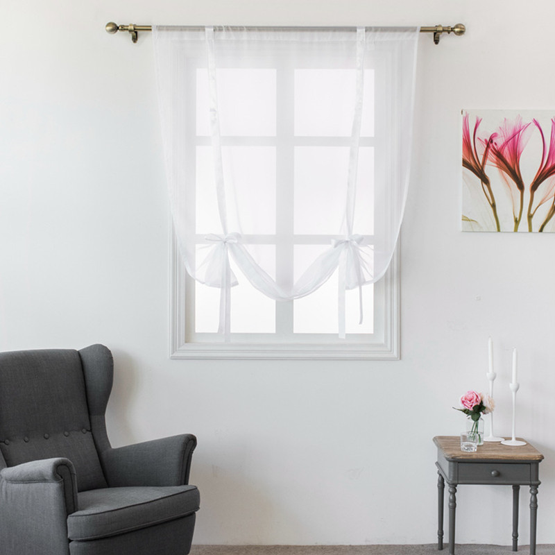 Verahome solid Roman curtains short kitchen valance curtains sheer fabric panel modern curtains Treatments window Red ribbon in Curtains from Home Garden