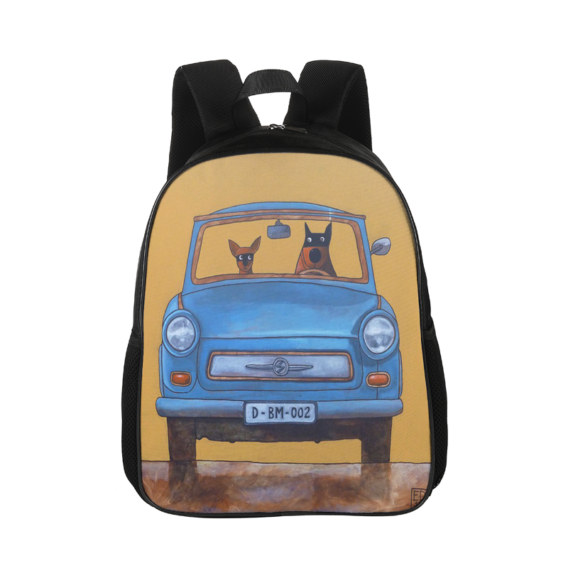 15 Inches Backpack Car's Dog Printing Canvas Backpack For Teenagers Girls Anti-Theft Notebook Travel Shoulder Bag