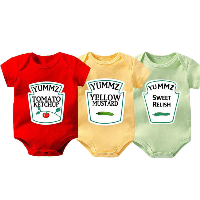YSCULBUTOL baby twin MOSTERD ZOETE RELISH MAYONAISE zuigelingsbodysuit PITTIGE HOT CHILI SAUS baby kleding 0-12 M
