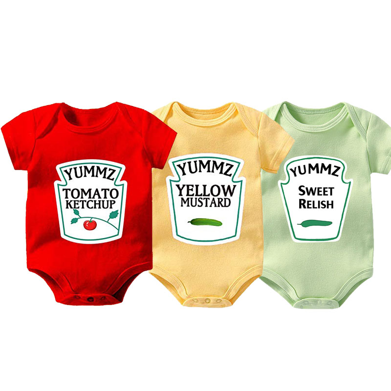 YSCULBUTOL Baby Twin MUSTARD SWEET RELISH MAYONNAISE Infant Bodysuit SPICY HOT CHILI SAUCE Baby Clothing 0-12M