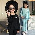 2 Pcs, T-shirt + calças, Nova Chegada 2017 Meninas Conjuntos de Roupas de Primavera e Outono Moda Casual coreano crianças boutique de roupas