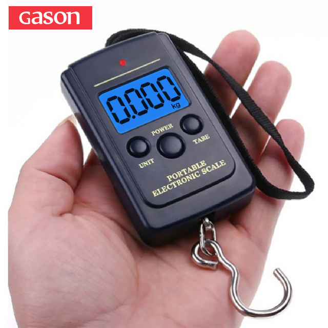 f50c55bac1d6 US $3.86 44% OFF|GASON Portable Digital Luggage Scale Travel Electronic  Mini Hanging Measuring Tools Gram Precision Balance Pocket LCD 40KG-in ...