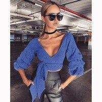 2017新しい秋のファッション女性vネックtシャツクロップドはピースセットスリムフィットセクシーな女性パーカー生き抜くz30