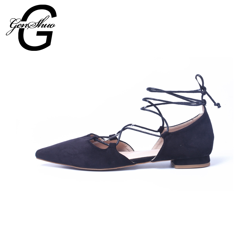 GENSHUO Women Flats 2017 Women Pointed Toe Flat Shoes Women Luxury Ladies Dress Shoes Girls Sapatilha Espadrilles pu pointed toe flats with eyelet strap