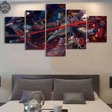 Canvas Printed Wall Art 5 Panel Overwatch Genji And Hanzo Pictures Home Decor Game Poster Canvas Painting On Living Room Cuadros