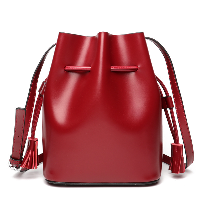 DOYUTIG Classical Women's Genuine Leather Bucket Bag With String Mouth Casual Real Cow Leather Crossbody Bag & Shoulder Bag F564
