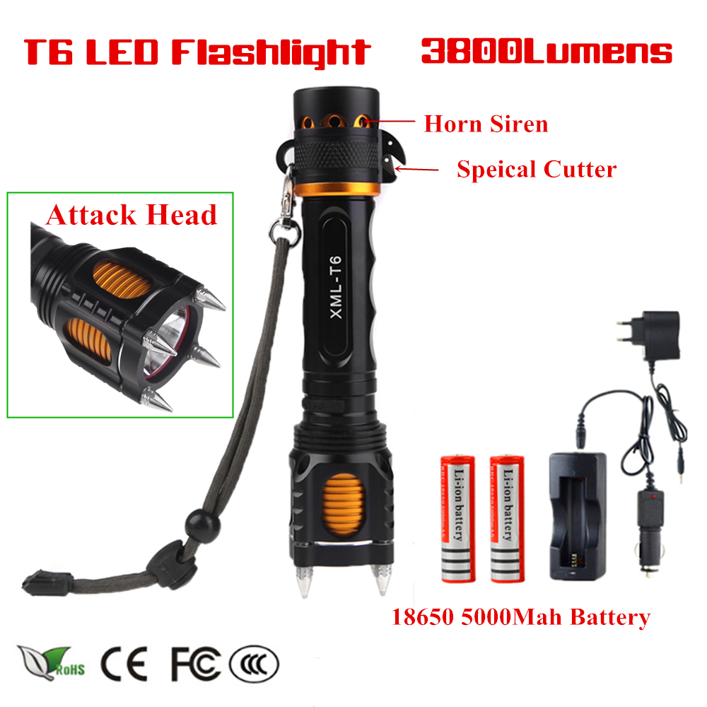 3800LM New XM-L T6 LED Flashlight Attack Head Self-Defense 5-Modes Aluminum Led Lamp Torch Rechargeable Light+Battery+Charger 2017 summer new fashion sexy lace ladies flats shoes womens pointed toe shallow flats shoes black slip on casual loafers t033109