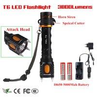 3800lm yeni xm-l t6 led el feneri saldırı kafa kendini savunma 5-modes alüminyum led lamba torch şarj edilebilir ışık + pil + şarj