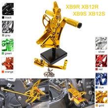 Repose pieds en aluminium CNC et réglables, pour BUELL XB9S XB12S XB9R XB12R, montages pour siège arrière