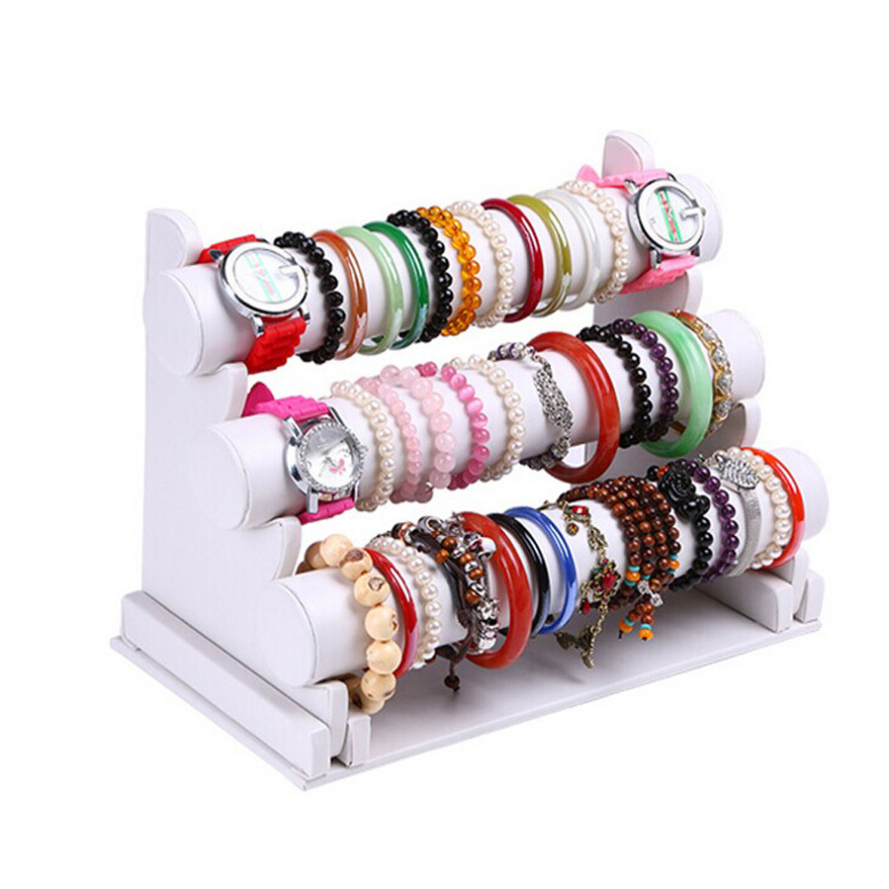 Diy 3 Tier Jewelry Stand: New And Fashion 3 Tier White Leather Bracelet Chain Watch