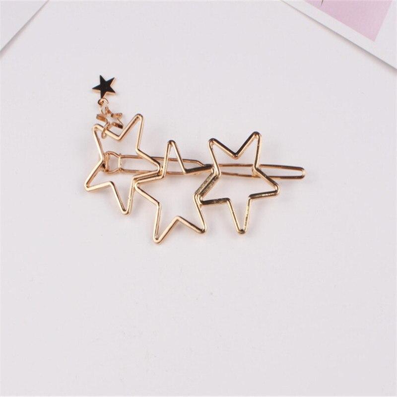 Woman Hair Accessories Five-pointed Star Hair Clip Pin Metal Copper  Hairgrip Barrette Girls Holder Hair Clip #6
