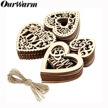 OurWarm 10pcs Lovely Heart Pattern Wooden Scrapbooking Painting Collection Craft Handmade DIY Accessory Home Decoration