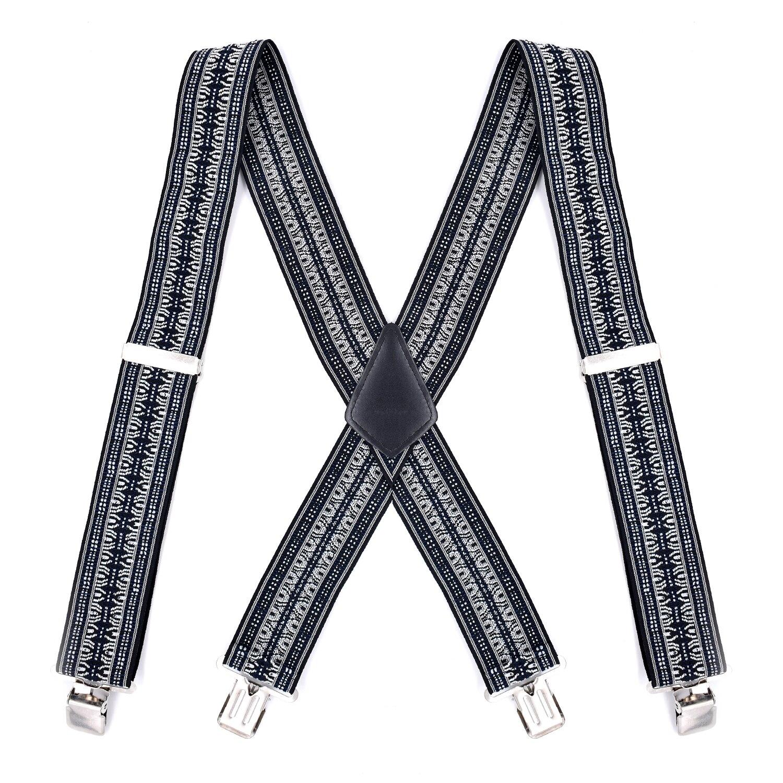 Mens Vintage Suspenders Braces Suspensorio Tirantes Hombre Para Pantalones Mannen Bretels X-Back Shape 4 Metal Clips