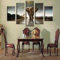 2016 Ventes Chaudes sans Cadre 5 Panneaux Image Éléphant HD Impression sur toile nue Peinture des Motifs Mur Art cheval Toile peinture YY258