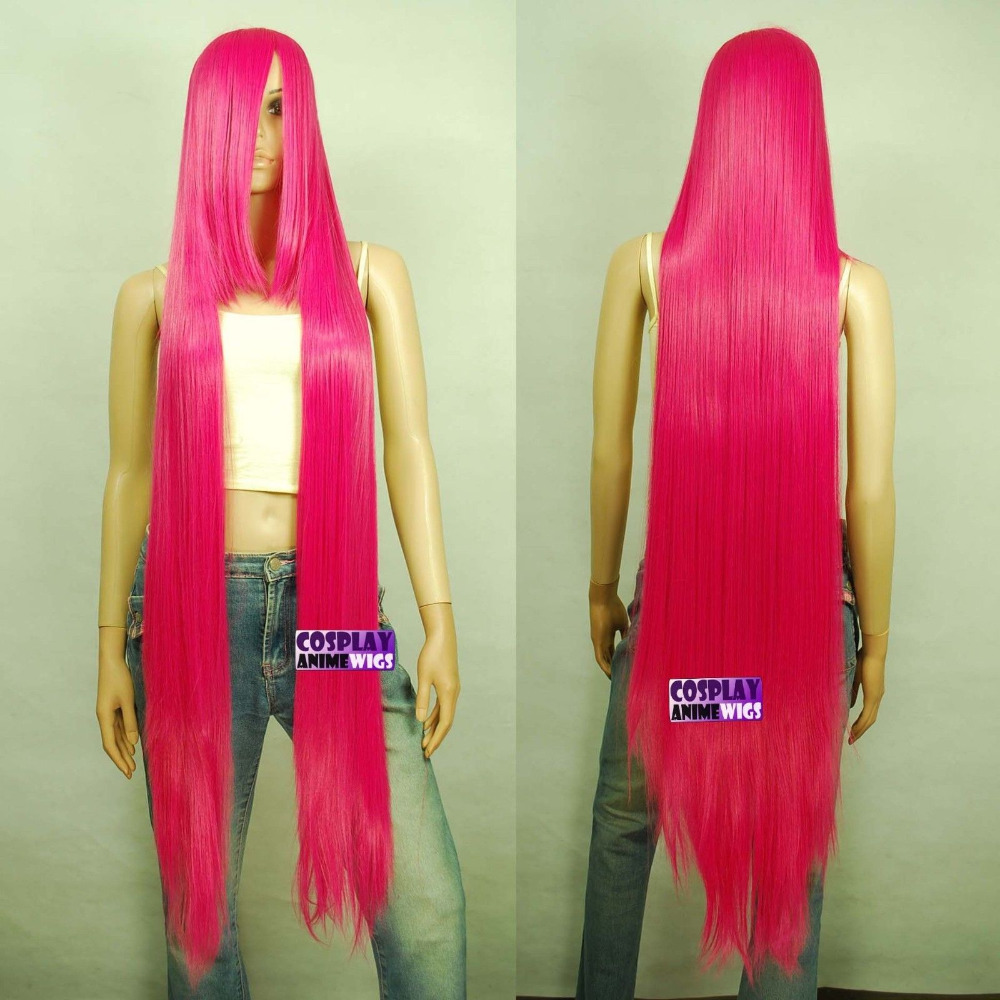 2019 Fashion >****^^ 150cm Hot Rose Pink Hi_temp Series 55cm Extra Long Bang Cosplay Wigs 99_hrp Ladies Heat Resistant Synthetic Reputation First