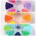 8 Color PE DIY Melty Cuentas Tubo Fusible Beads Recargas, Color mezclado, 3 ~ 3.3x2.5 ~ 2.6mm; aproximadamente 330 unids/compartimento, 2640 unids/caja