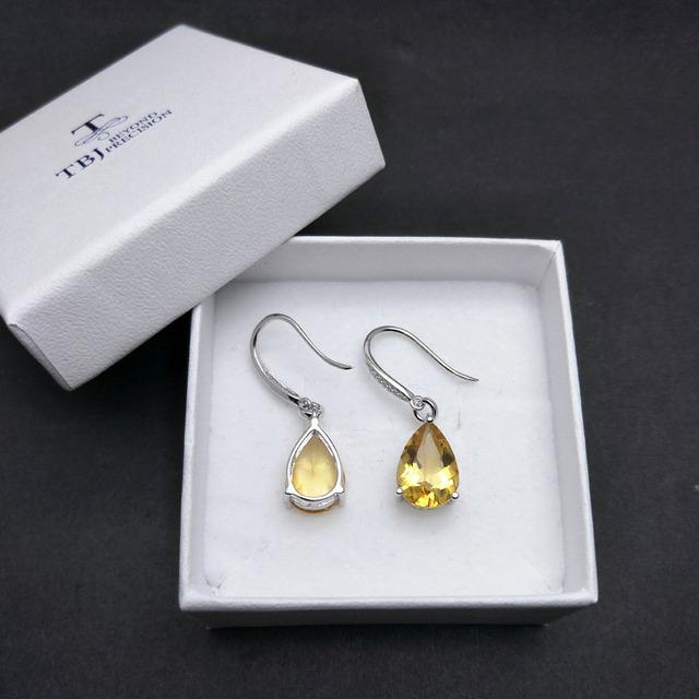 TBJ,Water Drop 5ct Genuine Brazil citrine gemstone Dangle hook Earrings Pure 925 Sterling Silver Fine Jewelry For Women