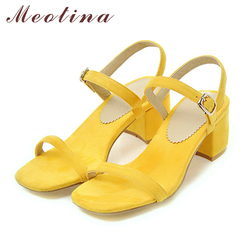 Meotina Design Shoes Women Sandals Summer 2018 Chunky Heel Sandals Open Toe Buckle Party Mid Heels Yellow Red Plus Size 9 42 43 5