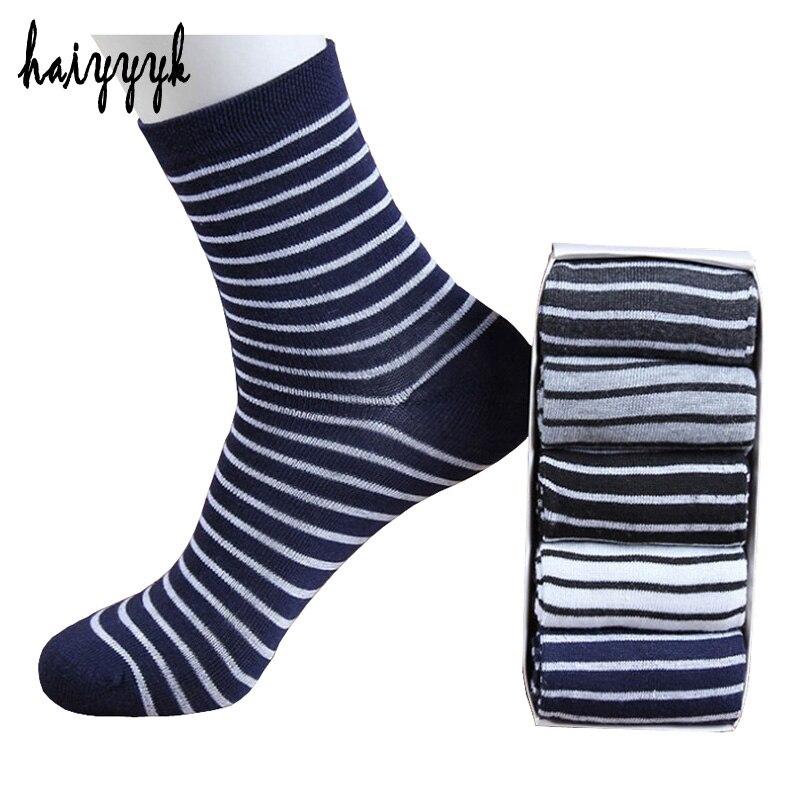 10Pcs=5 Pairs stripe Pattern Cotton Mans Socks Brand Socks Men Fashion High Quality Breathable Casual Sock No Boxe