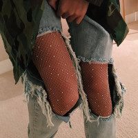 Women Sexy Crystal Rhinestones Fishnet Tights Female Slim Sexy Stockings Charm Pantyhose Club Party Hosiery 2017