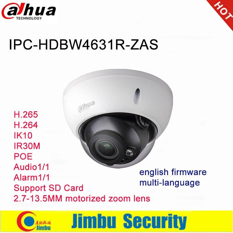 Dahua Ip Camera 6MP IPC-HDBW4631R-ZAS 2.7~13.5mm varifocal motorized lens IR30M IP67 IK10 built-in SD card slot audio interface