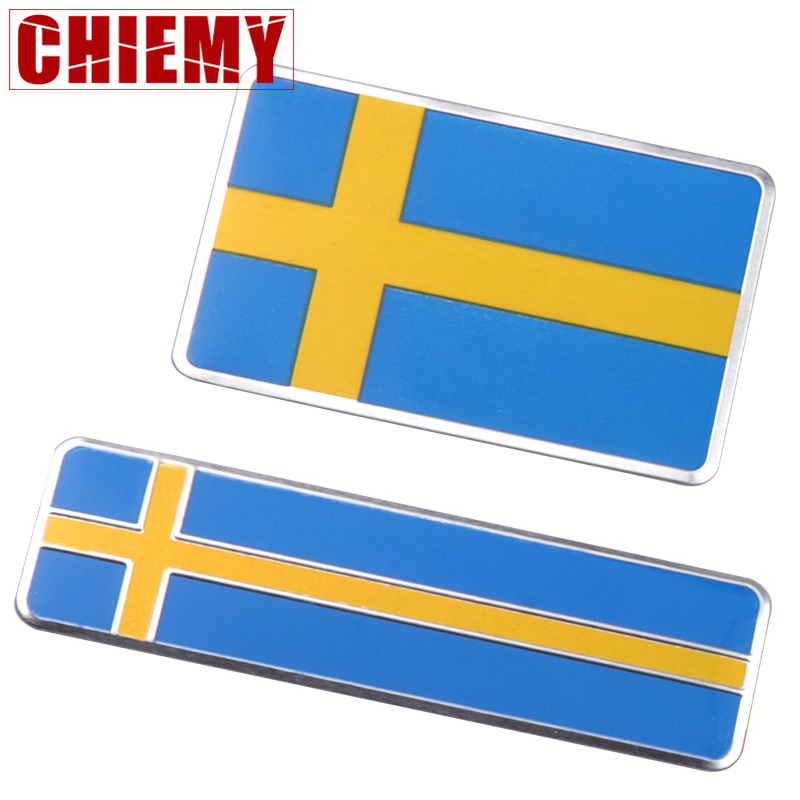 3D Aluminum Sweden Flag Emblem Badge Sticker Motorcycle Decal Car Body Window Decoration For Volvo Saab Scania Car Accessories