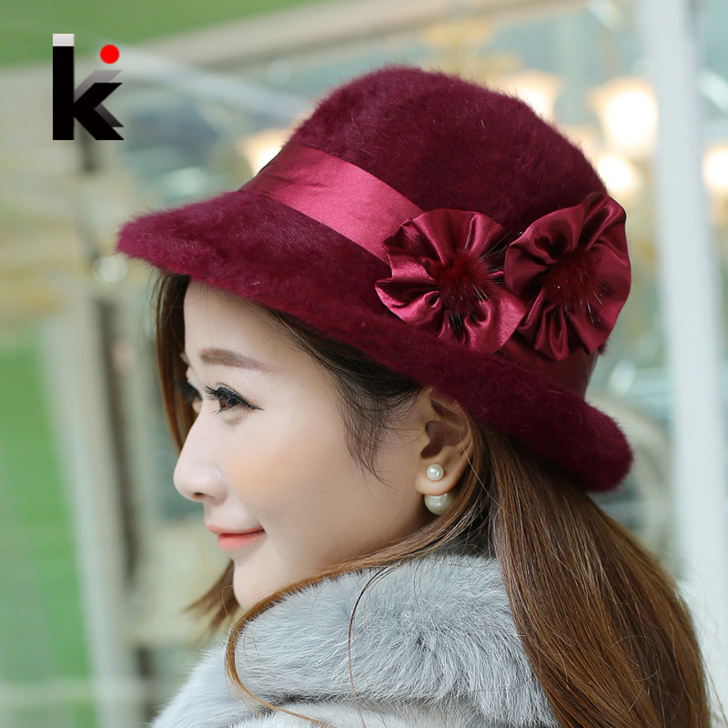 Free Shopping Fashion And Elegant Cap Female Fedoras Winter Pure Rex Rabbit Hat Keep Warm Caps Flower Decoration Fedoras Hats 1