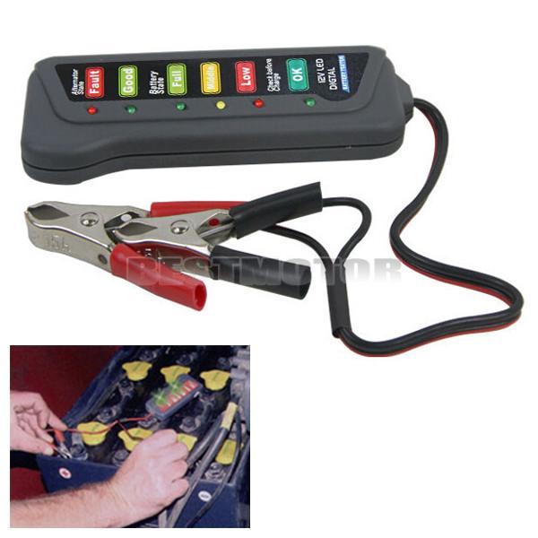 12 В водить автомобиль мотоцикл цифровой Батарея тестер два Клип генератор 6 светодиодов указывают