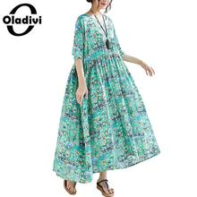 91441cbba52 Oladivi Oversize Plus Size Women Cotton Linen Summer Dress Casual Loose  Maxi Long Bohemian Dresses Female