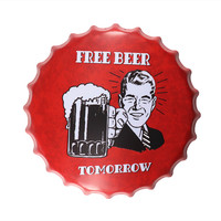 Free Beer Tomorrow Round Beer Bottle Cap Plate Vintage Metal Tin sign Home Decor Bar Club Wall Plaque Decoration 40cm