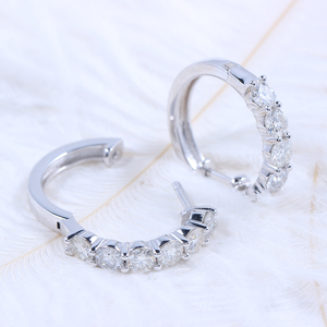 Image 4 - TransGems Sterling Silver 1.8ctw 3.5mm H Color Moissanite Simulated Diamond hoop Earrings for Women Fine Jewelry