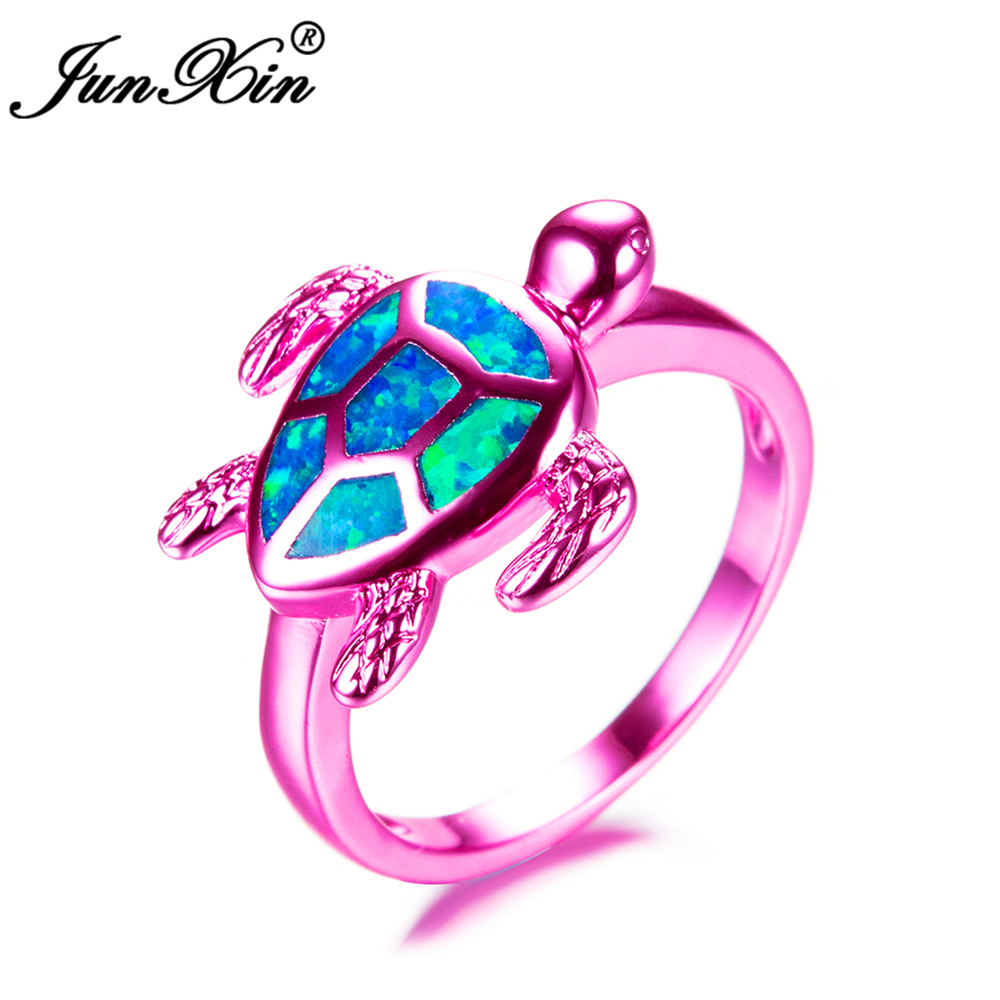 JUNXIN Female Blue Fire Opal Ring Fashion Pink Gold Filled Jewelry ...