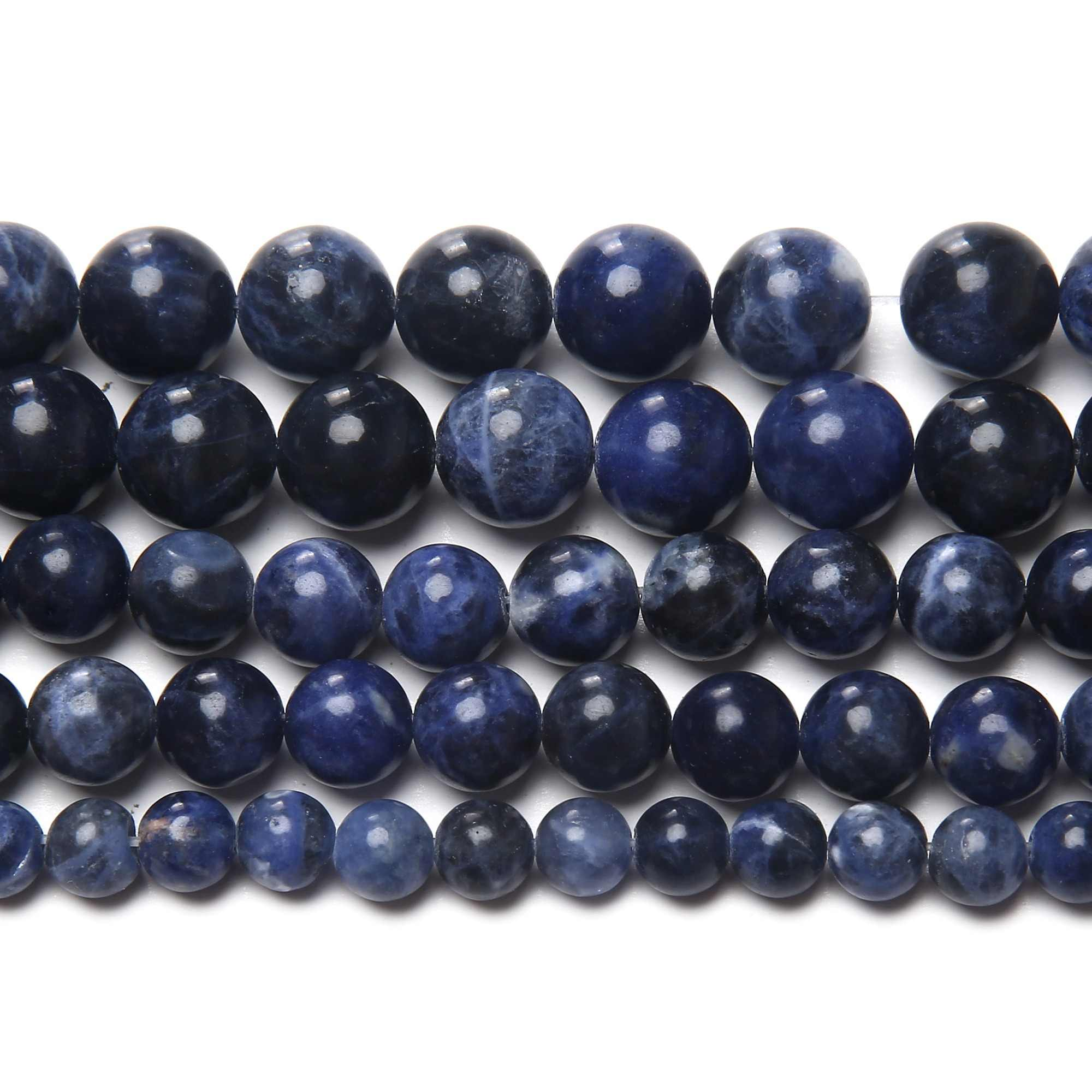"Free Shipping Natural Stone Old Blue Sodalite Round Loose Beads 15"" Strand 3 4 6 8 10 12MM Pick Size For Jewelry Making SAB15"