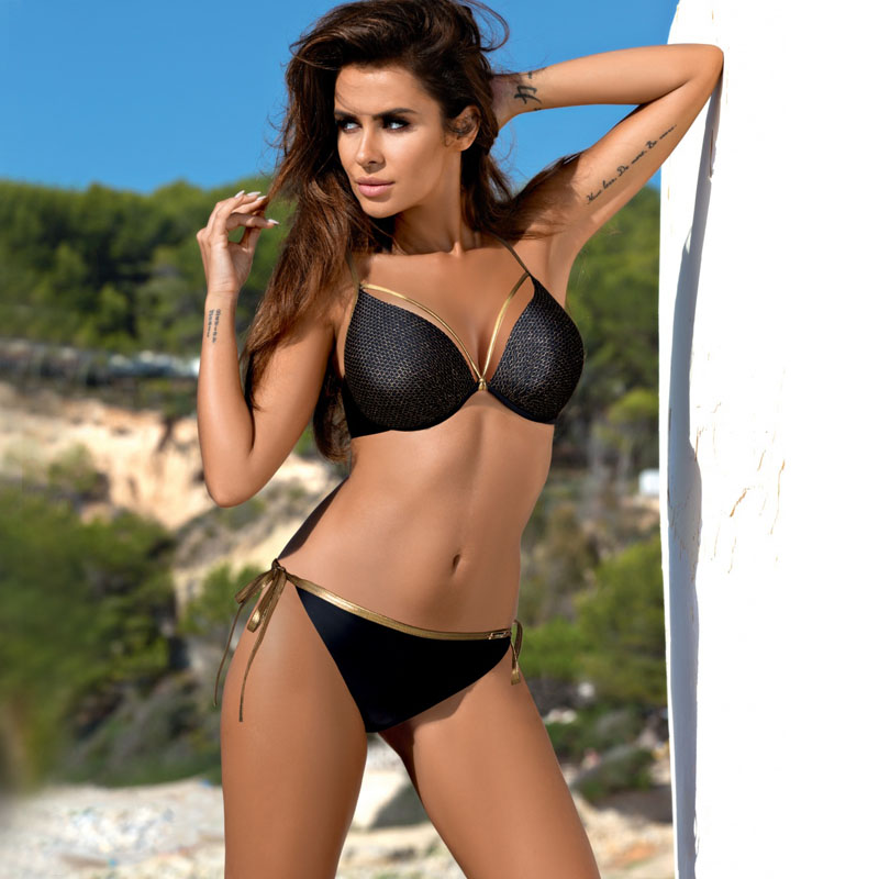 Black Bandage Bikini Set Women Swimsuit Bordered Padded Push Up Swimming Suit Sexy Summer Bathing Suit Maillot De Bain XXL