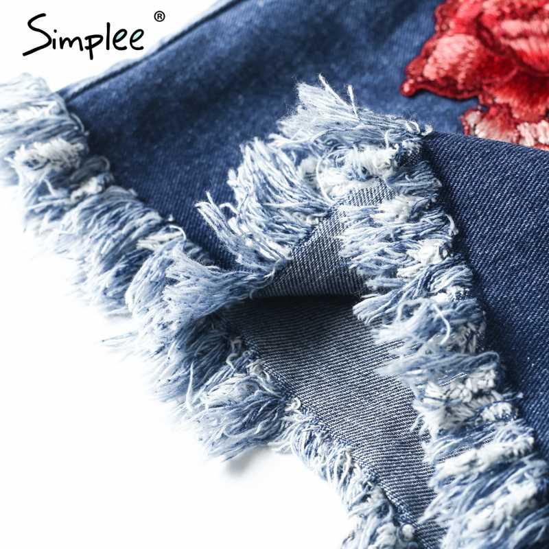 женские синие джинсовые шорты Simplee, шорты с цветочной вышивкой и высокой талией, повседневные джинсовые шорты на молнии с бахромой и карманами