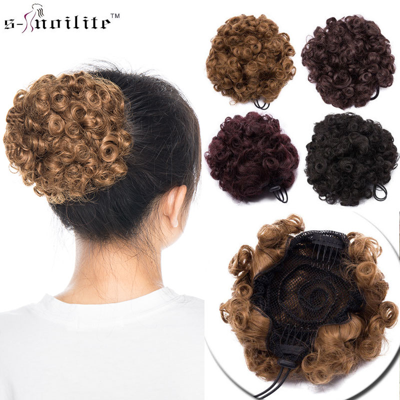 Strong Beauty Synthetic Hair Short Fake Chignon Hair Piece Curly Clip-in Extensions Hairpiece For Women 43colors Synthetic Ponytails Hair Extensions & Wigs