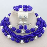 Silver Royal Blue Artificial Coral Beads 2015 New Design Nigerian African Wedding Beads Necklace Jewelry Set Free Shipping CJ443