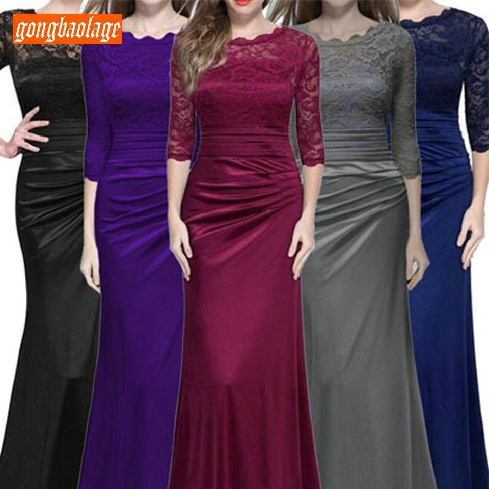 Elegant Women Mermaid   Evening     Dresses   Long Party 2019 Formal   Evening   Gown O-Neck Elastic Satin Lace Zipper Slim Fit Prom   Dress