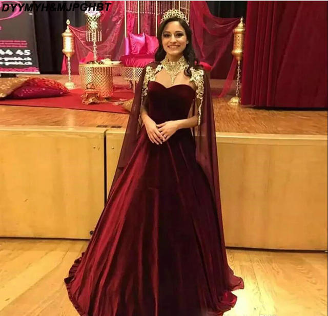 4fb39c5d281 Newest Burgundy Ball Gown Evening Dresses with Cape Sweetheart Velvet Skirt Dubai  Prom Gown Long Pageant Dress