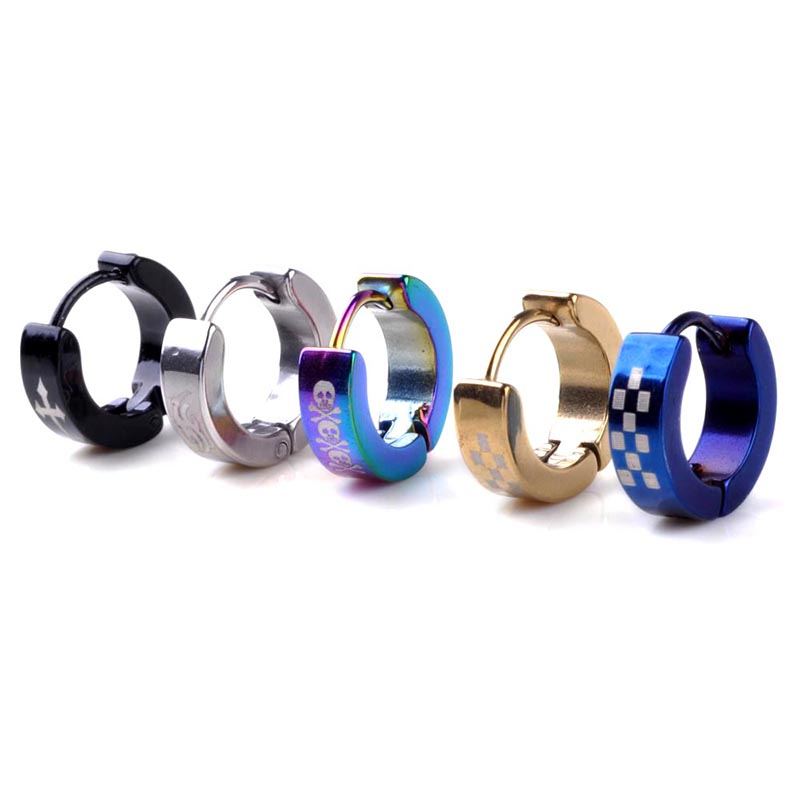 Mix Wholesale 40 Pairs/lot Women/Men 316L Stainless Steel Hoop Earrings Unisex Hook Silver