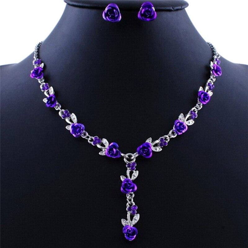 Rhinestone Rose Flower Pendant Long Necklace Earrings Set Vintage Silver Plate Enamel Jewelry Sets 5 Colors
