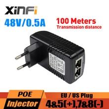 XINFI 48 В 0.5A 24 Вт PoE инжектор IEEE802.3af PoE источник питания США ЕС Разъем для IP камеры/AP/IP телефона