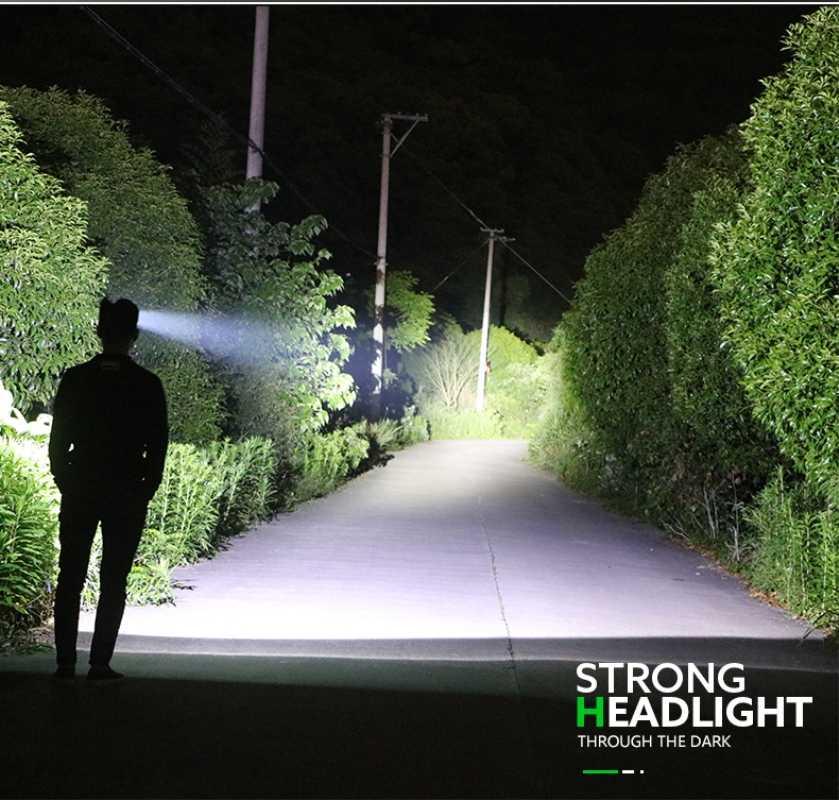 Linterna frontal LED de 6000 lúmenes con Sensor de movimiento superbrillante, potente linterna para cabeza recargable por USB con manos libres, resistente al agua