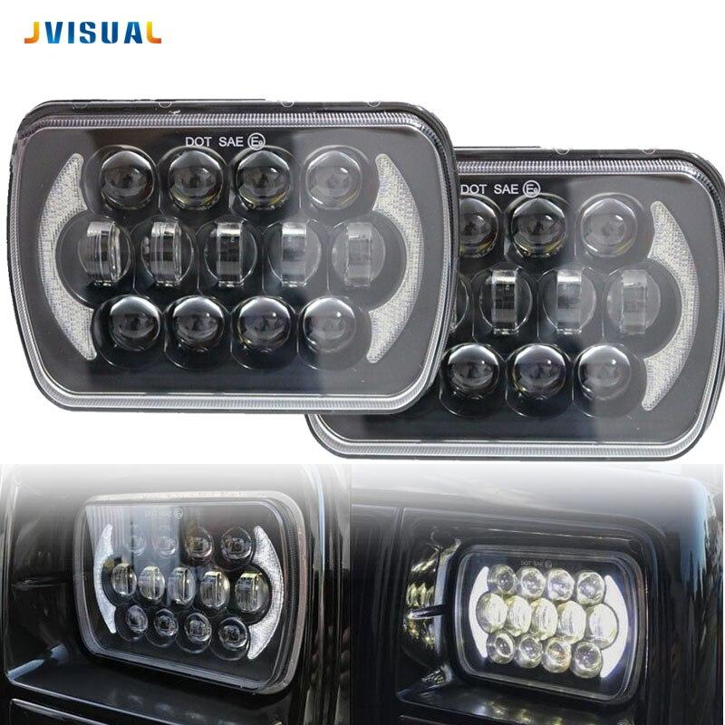 5X7 7X6 Inch Retangular Feixe Farol Com DRL para H6014 H6052 H6054 H6052 Square headlight for Jeep Cherokee XJ farol ваза ether
