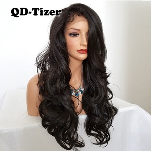 Image 5 - QD Tizer Natural Hairline Glueless High Temperature Fiber Hair Wigs Swiss Long Wavy 4# Brown Synthetic Lace Front Wig for Women