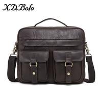 X. D. BOLO для мужчин's портфели сумки пояса из натуральной кожи мужчин сумка 14 дюймов ноутбука тетрадь сумки на плечо для мужчин
