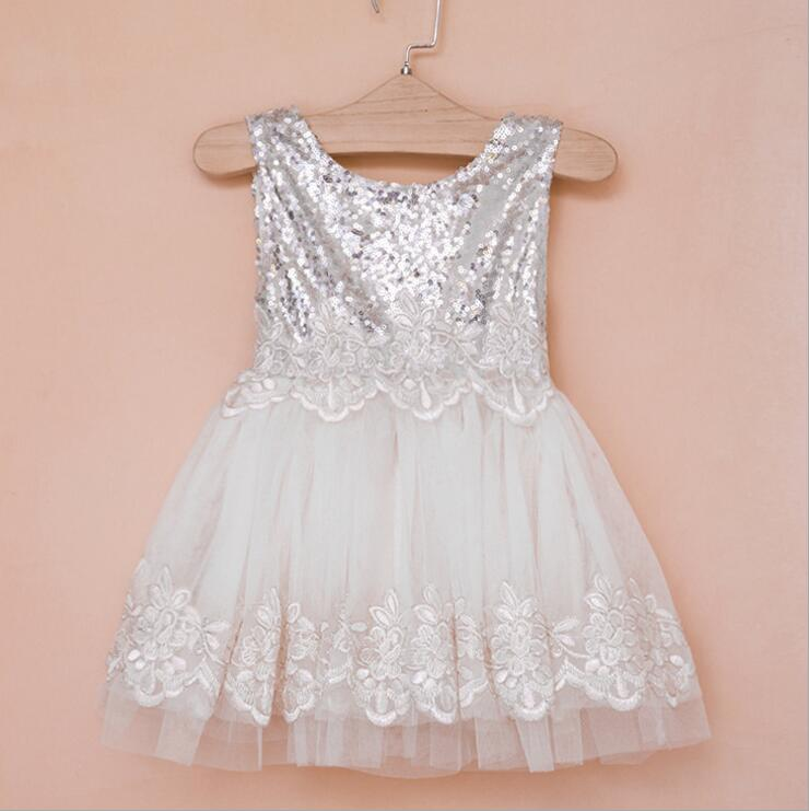 Children Girl Silver Sequins Dress O Neck Lace Waistline Princess
