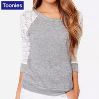 2016 New Fashion Long Sleeve T Shirt Women Lace Patchwork T Shirt Women Tops Plus Size